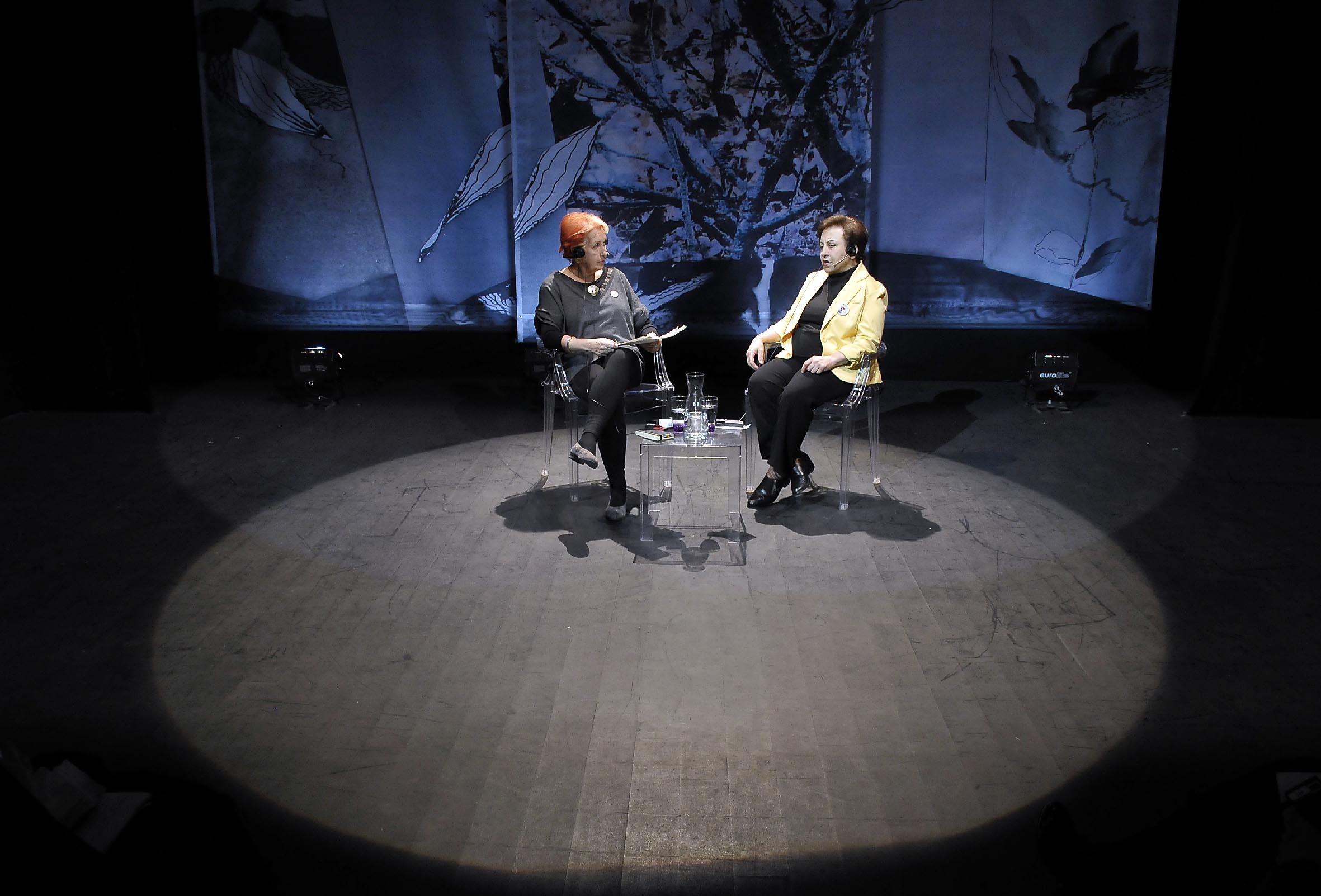 Rosa Mª Calaf (izd) y la Nobel de la Paz 2003, la iraní Shirin Ebadi